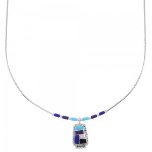 Liquid Sterling Silver And Multicolor Inlay Necklace WX78414