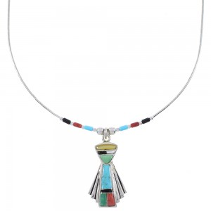 Multicolor Inlay And Liquid Genuine Sterling Silver Necklace WX78427