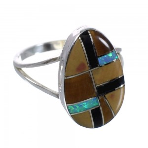 Authentic Sterling Silver Southwest Multicolor Ring Size 7 QX78494