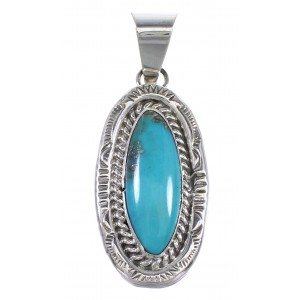 Turquoise And Sterling Silver Navajo Indian Pendant WX81421