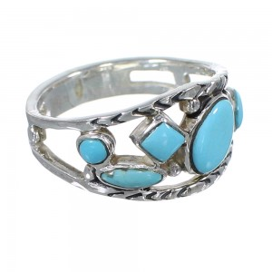 Southwest Turquoise Sterling Silver Ring Size 7-1/2 AX84301