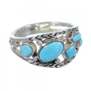 Genuien Sterling Silver Southwestern Turquoise Ring Size 6-3/4 AX84400