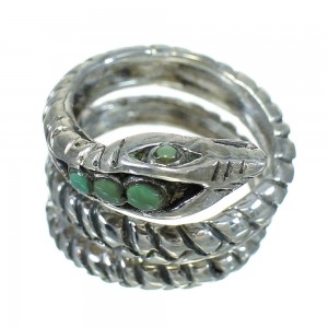 Turquoise Southwest Silver Snake Ring Size 5-1/2 YX83815