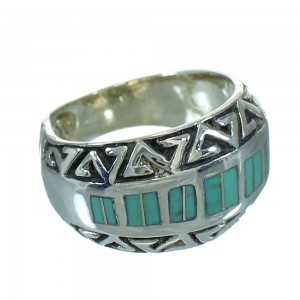 Turquoise Water Wave Sterling Silver Ring Size 5-1/2 RX86376