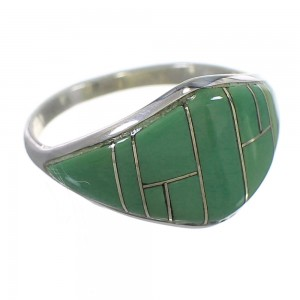 Sterling Silver Turquoise Inlay Southwestern Ring Size 8-1/2 QX84122