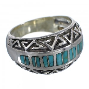 Turquoise Inlay Silver Water Wave Southwest Ring Size 6-1/4 AX83650