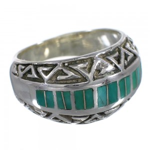 Turquoise Inlay Water Wave Sterling Silver Ring Size 5-1/4 AX83662