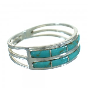 Authentic Sterling Silver And Turquoise Inlay Ring Size 8-1/4 RX85209
