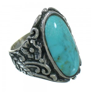 Southwest Turquoise And Silver Flower Ring Size 6-1/2 YX85461