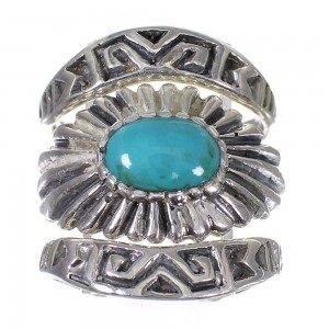 Stackable Turquoise Southwest Silver Ring Set Size 5-3/4 QX83886