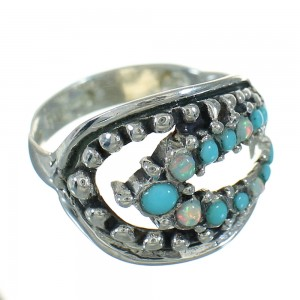 Turquoise Opal Silver Southwest Ring Size 6 UX84238