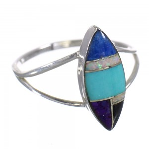 Southwest Sterling Silver Multicolor Ring Size 7 QX84809