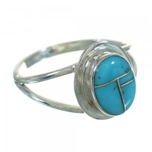 Genuine Sterling Silver Turquoise Southwestern Ring Size 5-1/4 QX83641