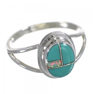 Southwest Opal Turquoise And Authentic Sterling Silver Ring Size 5 YX83765