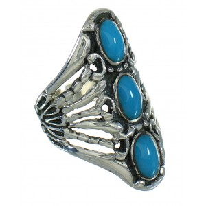 Authentic Sterling Silver Southwest Turquoise Ring Size 6 QX84617