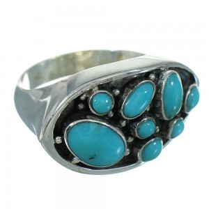 Turquoise Southwest Sterling Silver Ring Size 7-1/2 QX84662