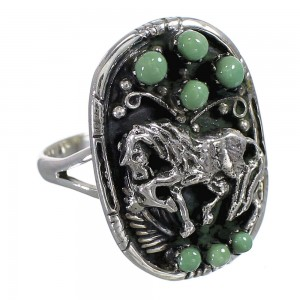 Southwestern Genuine Sterling Silver Turquoise Horse Ring Size 8 YX84624