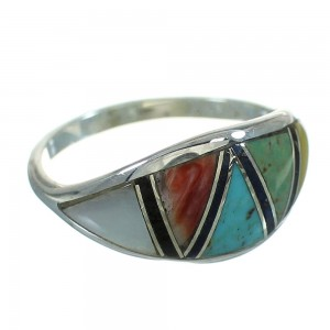 Southwest Multicolor Sterling Silver Ring Size 6-3/4 QX85660
