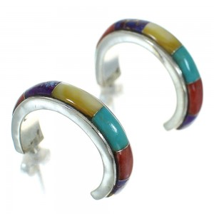 Multicolor Inlay Southwest Sterling Silver Post Hoop Earrings RX83349