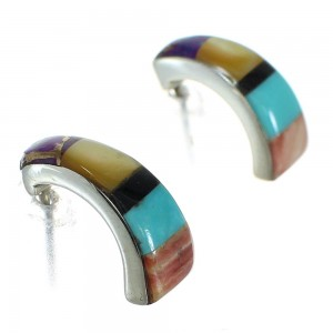 Sterling Silver And Multicolor Inlay Post Hoop Earrings RX83792