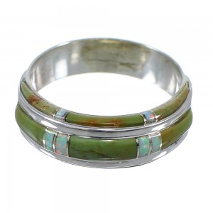 Turquoise And Opal Genuine Sterling Silver Ring Size 7-1/4 AX86849