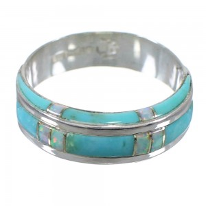 Sterling Silver Southwest Opal And Turquoise Jewelry Ring Size 7-1/2 AX87023