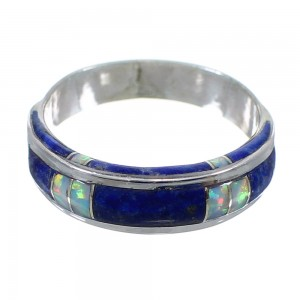 Lapis And Opal Inlay Sterling Silver Southwest Jewelry Ring Size 6-1/4 AX87135
