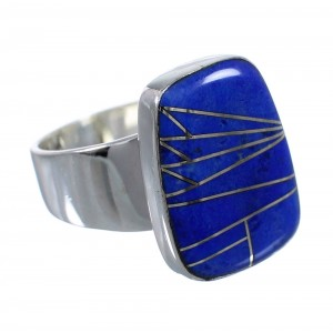 Lapis Inlay Silver Southwestern Ring Size 8-3/4 AX92361
