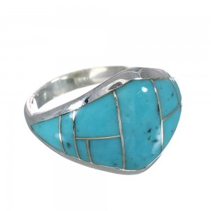 Silver Turquoise Southwest Ring Size 6 AX90589