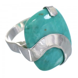 Sterling Silver And Turquoise Jewelry Ring Size 7-1/4 RX88769