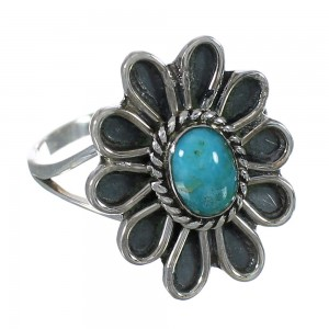 Silver Turquoise Flower Ring Size 4-3/4 YX90433
