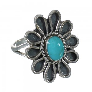 Turquoise Authentic Sterling Silver Flower Ring Size 7-3/4 YX90444
