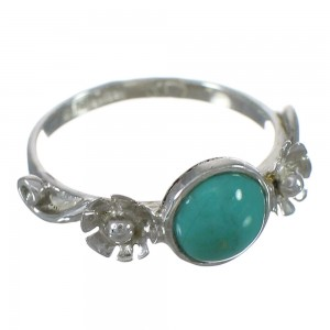 Genuine Sterling Silver Turquoise Flower Ring Size 4-3/4 FX91367