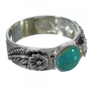 Flower Turquoise And Authentic Sterling Silver Southwestern Ring Size 8-1/4 YX90656