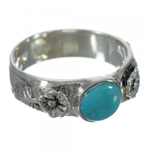 Southwestern Turquoise Authentic Sterling Silver Flower Ring Size 6 YX90670