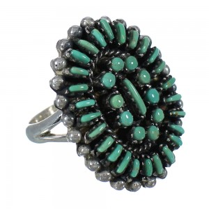Turquoise Needlepoint Sterling Silver Ring Size 6-1/2 FX91837