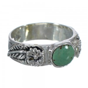 Turquoise Authentic Sterling Silver Southwestern Flower Ring Size 8-3/4 YX91695