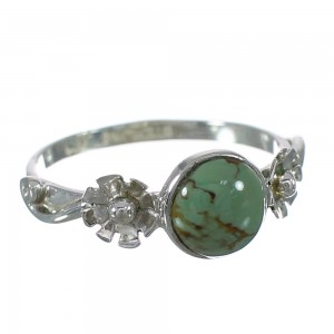 Turquoise Sterling Silver Southwestern Flower Ring Size 6-3/4 YX90810