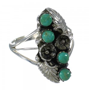 Genuine Sterling Silver Turquoise Ring Size 7-3/4 FX91895