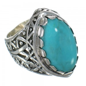 Authentic Sterling Silver Turquoise Ring Size 6-1/2 FX93418