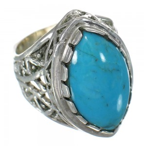 Sterling Silver Turquoise Jewelry Ring Size 6 FX93445