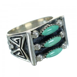 Turquoise Needlepoint Sterling Silver Water Wave Jewelry Ring Size 6-3/4 FX90565