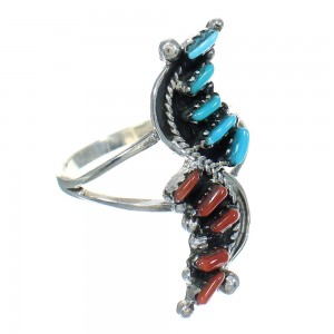 Turquoise And Coral Needlepoint Sterling Silver Ring Size 8-1/4 FX91946