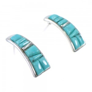 Turquoise Inlay Southwest Sterling Silver Post Hoop Earrings AX87255