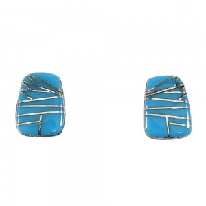 Southwestern Genuine Sterling Silver Turquoise Post Earrings AX87273