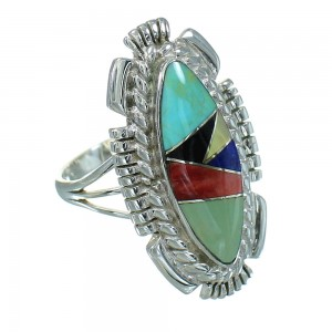 Southwest Multicolor Sterling Silver Jewelry Ring Size 7-3/4 RX86814