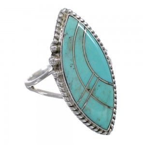Genuine Sterling Silver Southwestern Turquoise Inlay Jewelry Ring Size 5-1/4 AX87993