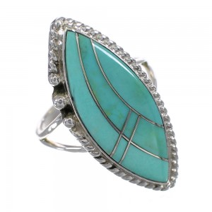 Southwestern Authentic Sterling Silver Jewelry Turquoise Inlay Ring Size 7-1/4 AX88004