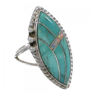 Turquoise Opal And Silver Southwestern Ring Size 7 YX87906