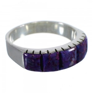Magenta Turquoise Inlay Sterling Silver Jewelry Ring Size 8-1/2 AX88699